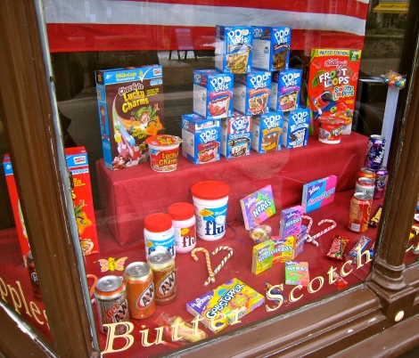 American sweets in Cambridge shop window.