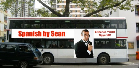 "Mock ""Spanish by Sean"" bus advertisement"