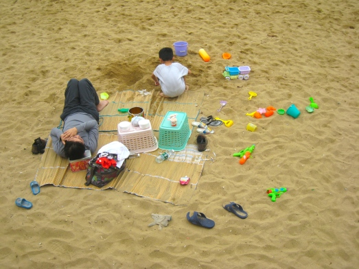 Colored beach toys in Sai Kung
