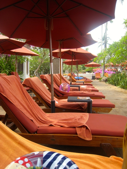 "Row of ""reserved"" sun-beds"