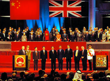 "Formal group portrait from the 1997 ""transfer of sovereignty"" midnight ceremony. Photo: China Daily here"