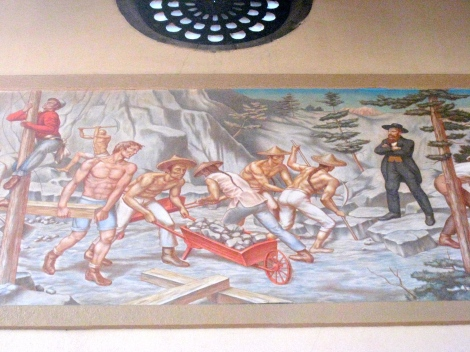 Mural in Union Station of transcontinental railway workers