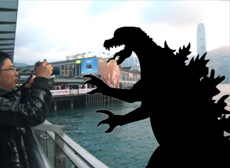 What would happen if a Kaiju actually entered Victoria Harbour (Source: photo mine, Godzilla image from Transient Monkey)
