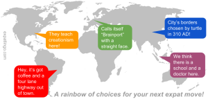 A rainbow of choices for your next expat assignment! expatlingo.com