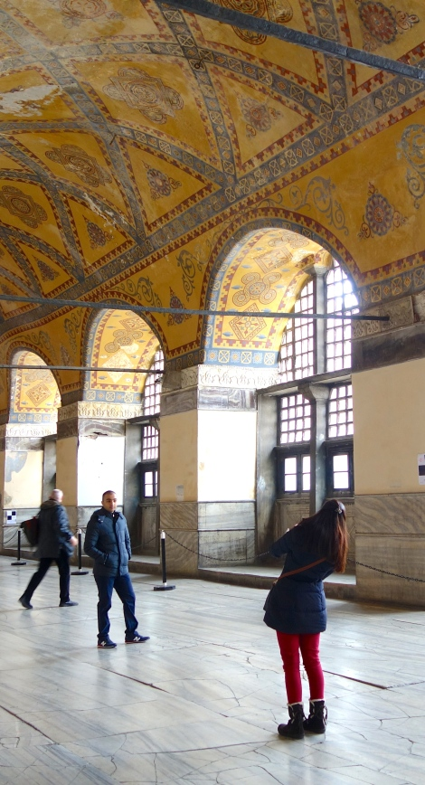 Taking a picture of a friend in Aya Sofya