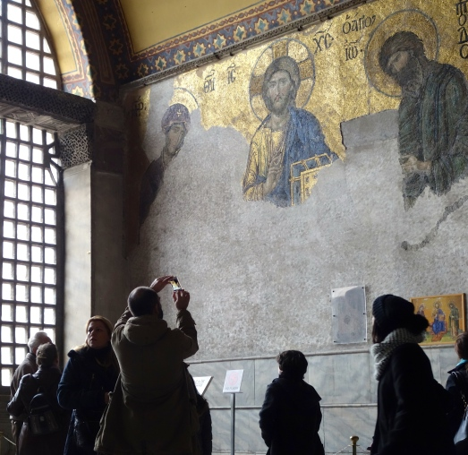 Taking a picture of Jesus in Aya Sofya