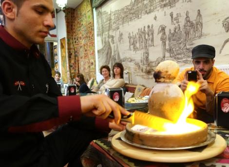 Videoing lamb in clay pot presentation