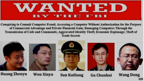 FBI Wanted poster for Chinese army officers
