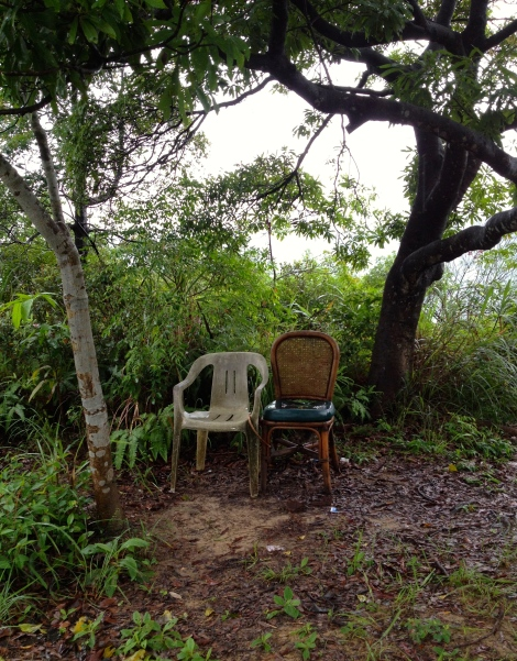 I wrote a short story about the old man who sits in one of these chairs in the mornings (too rainy this day for him).