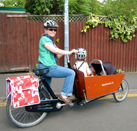 Me and my beloved Bakfiets (File photo from our Cambridge days.)