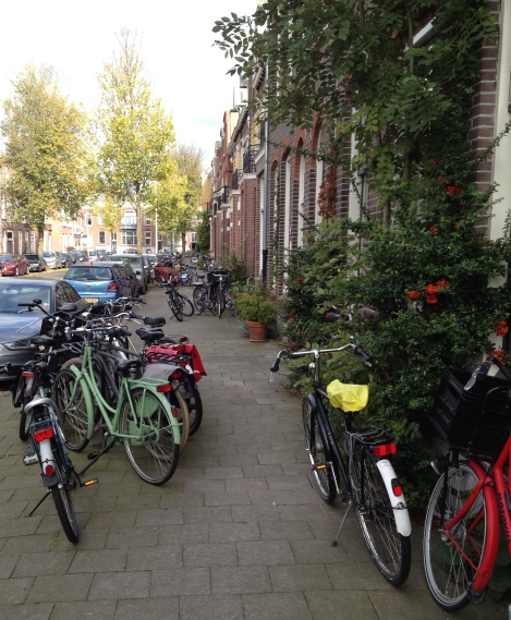 Doding bikes parked on the sidewalk.