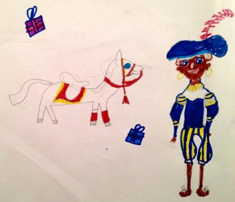 Zwarte Piet pictured with Sinterklaas' horse, Amierigo.