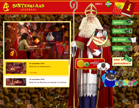 Screen shot from the web-version of the Sinterklaas Journaal