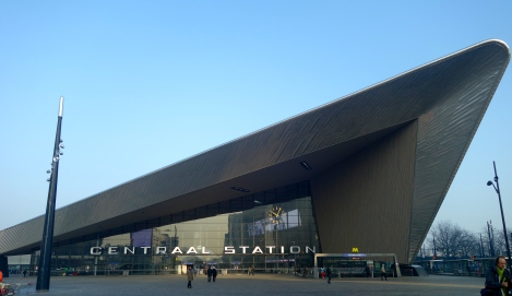 Rotterdam Central Station: like some sort of an awesome, modern ski lodge or Bond villain lair.