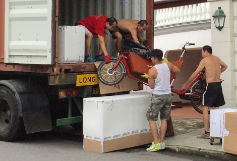 The movers confirmed that this was the first bike of this sort that they've unpacked in Hong Kong.