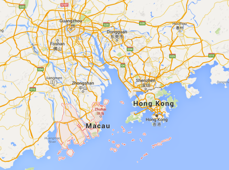 Google maps screen shot of Zhuhai